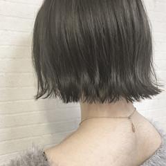 ナチュラル ボブ ハイライト 切りっぱなし ヘアスタイルや髪型の写真・画像