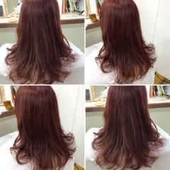 ダブルカラー セミロング ストリート ピンク ヘアスタイルや髪型の写真・画像