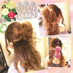 ハーフアップ ゆるふわ 編み込み ヘアアレンジ ヘアスタイルや髪型の写真・画像