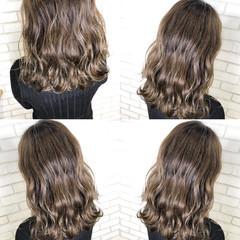 ベージュ ナチュラル ハイライト ロング ヘアスタイルや髪型の写真・画像