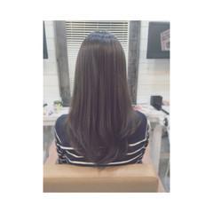 暗髪 トリートメント ストレート フェミニン ヘアスタイルや髪型の写真・画像
