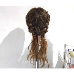 デート 夏 梅雨 裏編み込み ヘアスタイルや髪型の写真・画像