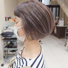 ミニボブ 大人ハイライト ボブ 前髪パッツン ヘアスタイルや髪型の写真・画像