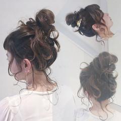 お団子 ヘアアレンジ ゆるふわ ショート ヘアスタイルや髪型の写真・画像