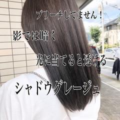 アッシュグレージュ セミロング グレージュ 髪質改善カラー ヘアスタイルや髪型の写真・画像