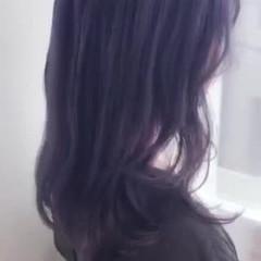ロング ガーリー ブリーチ ブルーバイオレット ヘアスタイルや髪型の写真・画像