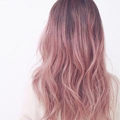 ストリート ピンク 外国人風 ミディアム ヘアスタイルや髪型の写真・画像