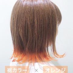裾カラー オレンジカラー ストリート ボブ ヘアスタイルや髪型の写真・画像