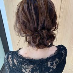 ゆるふわセット ヘアアレンジ セミロング ナチュラル ヘアスタイルや髪型の写真・画像
