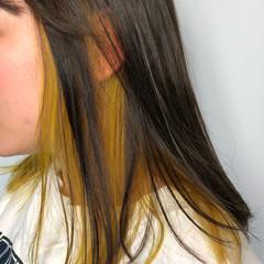 ダブルカラー イエロー インナーカラー ハニーイエロー ヘアスタイルや髪型の写真・画像