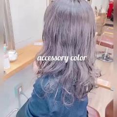 ネイビーブルー ストリート ミディアム ブルーアッシュ ヘアスタイルや髪型の写真・画像