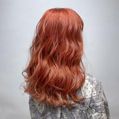 オレンジカラー ガーリー アプリコットオレンジ ハイトーン ヘアスタイルや髪型の写真・画像