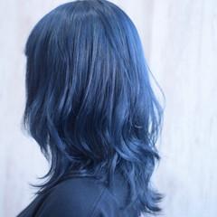 コリアンネイビー ネイビーブルー ウルフカット ミディアム ヘアスタイルや髪型の写真・画像