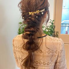 アンニュイほつれヘア ガーリー 結婚式 ロング ヘアスタイルや髪型の写真・画像