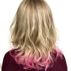 ダブルカラー ストリート ピンク ブリーチカラー ヘアスタイルや髪型の写真・画像