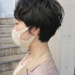 前髪 ナチュラル ベリーショート パーマ ヘアスタイルや髪型の写真・画像
