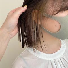 シアーベージュ グレージュ ボブ ストリート ヘアスタイルや髪型の写真・画像