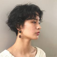 パーマ 前髪パーマ ナチュラル ショートボブ ヘアスタイルや髪型の写真・画像