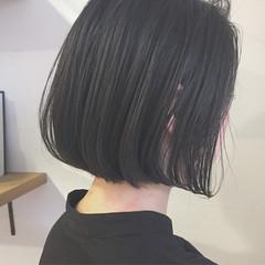 黒髪 切りっぱなし ボブ アッシュ ヘアスタイルや髪型の写真・画像