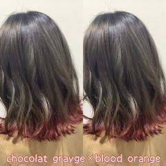 グレージュ ヘアカラー デザインカラー レッド ヘアスタイルや髪型の写真・画像
