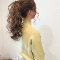 ロング ヘアセット ポニーテールアレンジ フェミニン ヘアスタイルや髪型の写真・画像