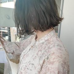 ボブ ミルクティーグレージュ ナチュラル 大人かわいい ヘアスタイルや髪型の写真・画像