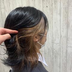 ナチュラル ボブ インナーカラー 切りっぱなしボブ ヘアスタイルや髪型の写真・画像
