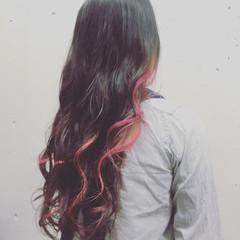 ピンク 抜け感 ハイライト レッド ヘアスタイルや髪型の写真・画像