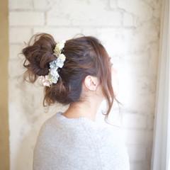 簡単ヘアアレンジ お団子 ゆるふわ 結婚式 ヘアスタイルや髪型の写真・画像