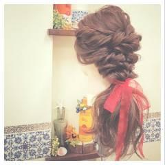 スパイラルパーマ ゆるふわ ヘアアレンジ くるりんぱ ヘアスタイルや髪型の写真・画像
