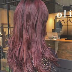 モード ロング ベリーピンク アッシュバイオレット ヘアスタイルや髪型の写真・画像