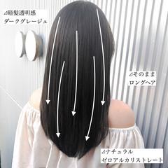 アッシュ ナチュラル グレージュ ストレート ヘアスタイルや髪型の写真・画像