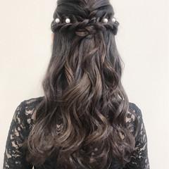 ヘアアレンジ ハーフアップ ロング 結婚式 ヘアスタイルや髪型の写真・画像