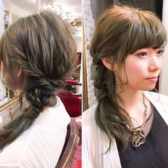 ハーフアップ ミディアム 大人かわいい パーマ ヘアスタイルや髪型の写真・画像