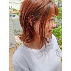 ミニボブ ナチュラル インナーカラー ショートボブ ヘアスタイルや髪型の写真・画像