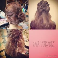 三つ編み ストレート 結婚式 ストリート ヘアスタイルや髪型の写真・画像