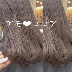 大人ロング ラベンダーアッシュ 髪質改善カラー セミロング ヘアスタイルや髪型の写真・画像