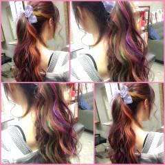 ガーリー ヘアアレンジ マルサラ セミロング ヘアスタイルや髪型の写真・画像