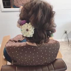 成人式 ヘアアレンジ セミロング ナチュラル ヘアスタイルや髪型の写真・画像