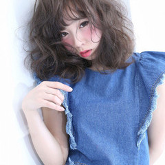 アッシュ 夏 春 ミディアム ヘアスタイルや髪型の写真・画像
