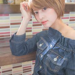 ガーリー 小顔 似合わせ ショート ヘアスタイルや髪型の写真・画像