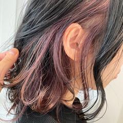 ストリート デートヘア インナーカラー ミディアム ヘアスタイルや髪型の写真・画像