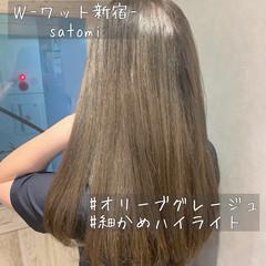 イルミナカラー ストレート ナチュラル セミロング ヘアスタイルや髪型の写真・画像