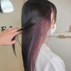 セミロング インナーカラー ラベンダーアッシュ インナーラベンダー ヘアスタイルや髪型の写真・画像