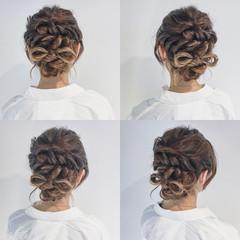 ヘアアレンジ 編み込み 大人かわいい セミロング ヘアスタイルや髪型の写真・画像