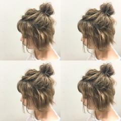 ハーフアップ ボブ 外国人風 ハイライト ヘアスタイルや髪型の写真・画像