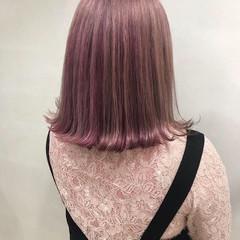 ロブ デート 簡単ヘアアレンジ ピンク ヘアスタイルや髪型の写真・画像