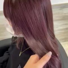ラベンダー ピンクパープル ガーリー セミロング ヘアスタイルや髪型の写真・画像