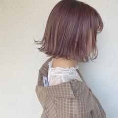 パープル ハイトーンカラー ショート ショートボブ ヘアスタイルや髪型の写真・画像