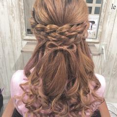ヘアメイク ヘアアレンジ リボン ガーリー ヘアスタイルや髪型の写真・画像